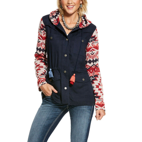 Ariat Ladies Harmony Navy Blue Aztec Tasseled Hooded Jacket 10028410
