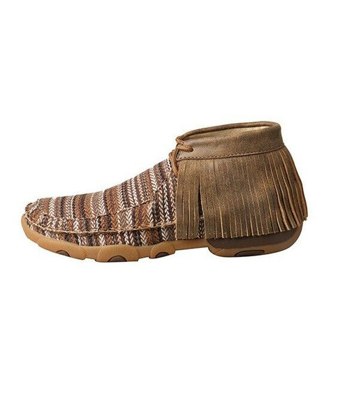 Twisted X Ladies Brown Multicolor Fringe Driving Mocs WDM0106