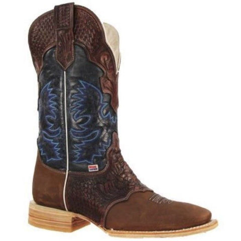 RockinLeather Men's Navy/Brown Tooled Overlay Boot 1101 - Wild West Boot Store