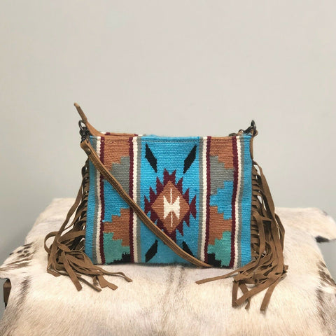 American Darling Blue Aztec Saddle Blanket Crossbody ADBG236DAR1
