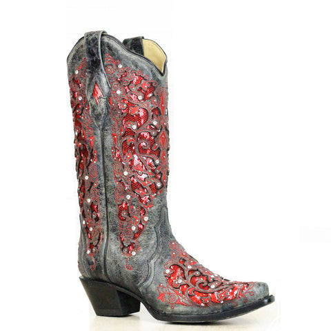 Corral Ladies Black-Red Glitter Inlay & Crystal Boots A3534 - Wild West Boot Store