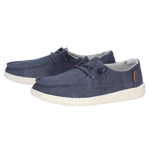 Hey Dude Ladies Wendy Chambray Navy & White Shoes 121412526