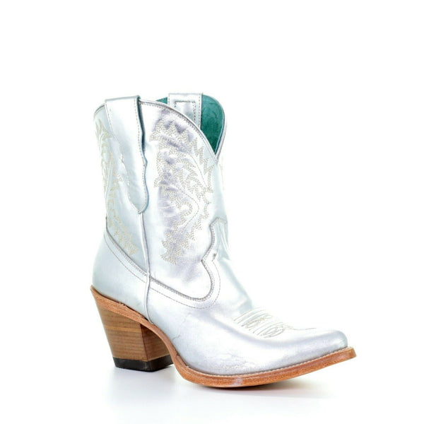 Corral Ladies Silver & Embroidery Ankle Boots E1426