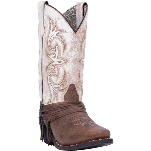 Laredo Ladies Myra Brown & Sand White Western Boots 51091