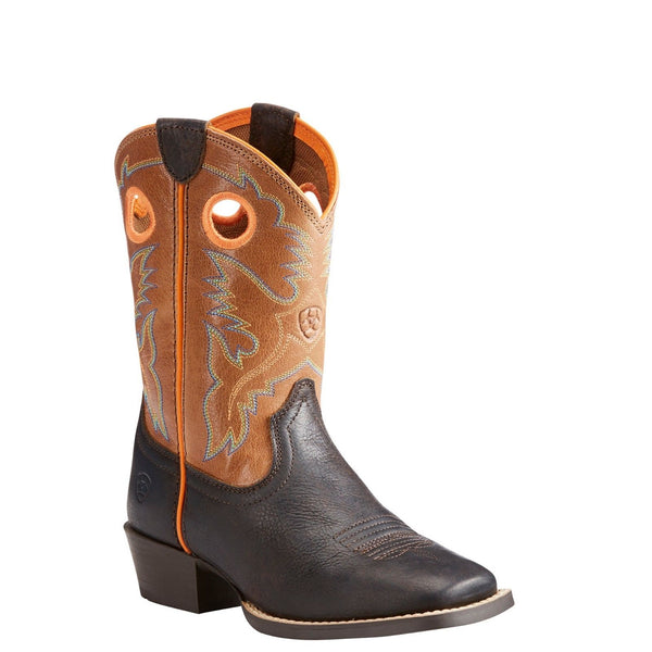 Ariat Children's Heritage Roughstock Dark Java/Light Brown Boots 10023093 - Wild West Boot Store