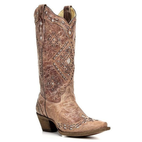 Corral Ladies Cognac/Sand Glitter Inlay Boot A2948 - Wild West Boot Store