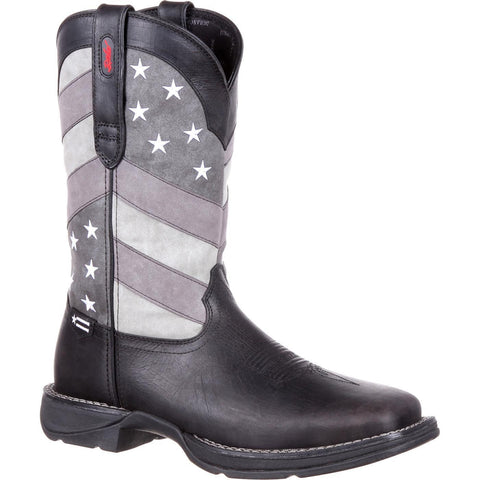 Durango Men's Rebel Faded Black & Grey Flag Square Toe Boot DDB0125 - Wild West Boot Store
