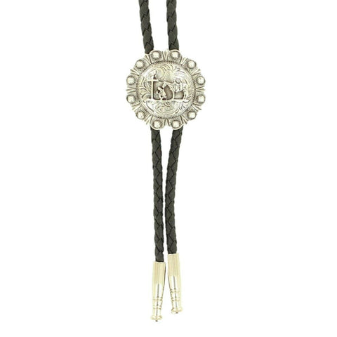 Double S Silver Engraved Praying Cross Round Bolo Tie 22844