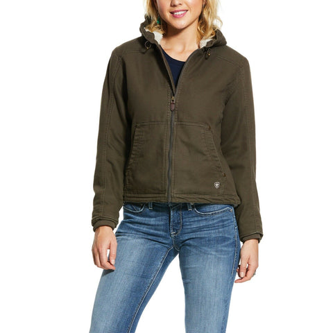 Ariat® Ladies REAL Outlaw Bark Brown Hooded Canvas Jacket 10028617