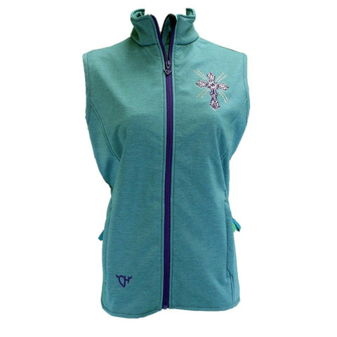Cowgirl Hardware Ladies Aqua Cross Soft Shell Vest 287151-394