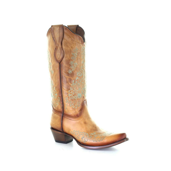 Circle G by Corral Ladies Straw Brown Embroidery Snip Toe Boots L2003