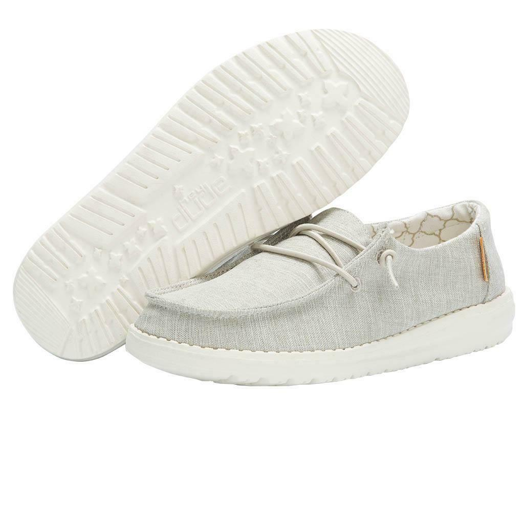 Hey Dude Wendy Youth Linen White Size 1