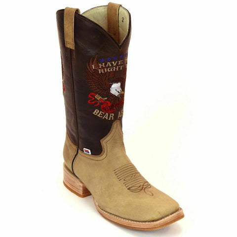 RockinLeather Men's 2nd Amendment Right To Bear Arms Brown Boots 1199