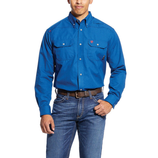 Ariat® Men's FR Featherlight Royal Blue Work Shirt 10025428