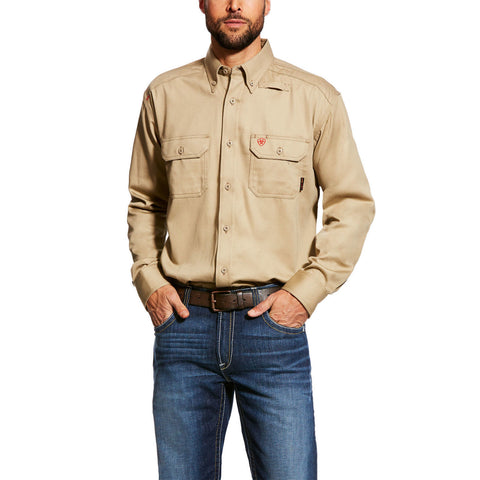 Ariat® Men's FR Flame Resistant Khaki Work Shirt 10012251 - Wild West Boot Store