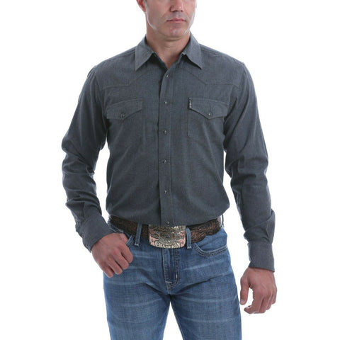 Cinch Men's Heather Charcoal Long Sleeve Button-Down Shirt MTW1312042