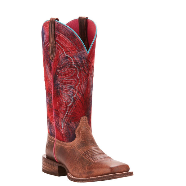 Ariat® Ladies Circuit Shiloh Weathered Tan & Red Boots 10025051 - Wild West Boot Store