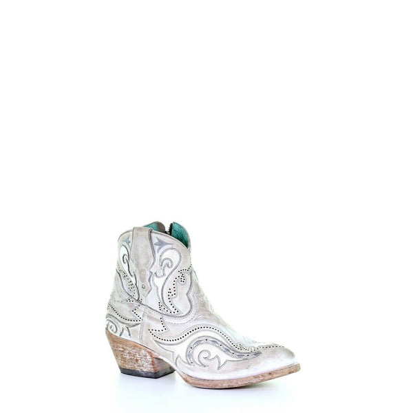 Corral Ladies White Overlay & Embroidery Ankle Boots G1479