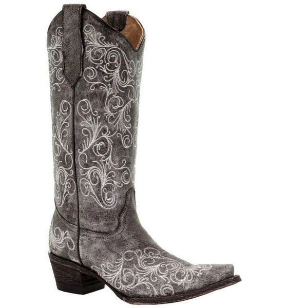 Circle G By Corral Ladies Grey Full Embroidery Boots L5419