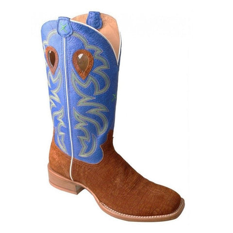 Twisted X Men's Ruff Stock Cognac Hippo & Royal Blue Boots MRSL034