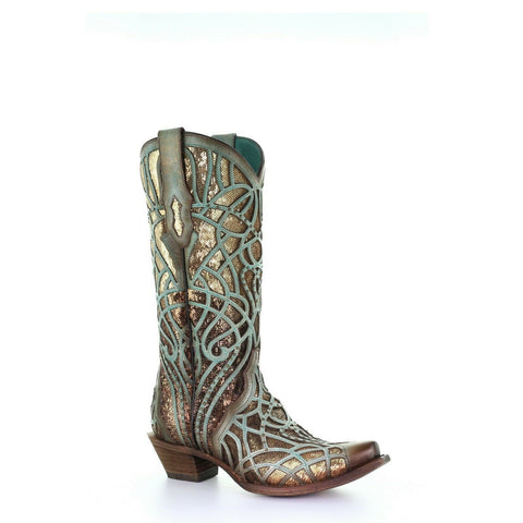 Corral Ladies Turquoise Glitter Inlay & Embroidery Studs Boots C3511