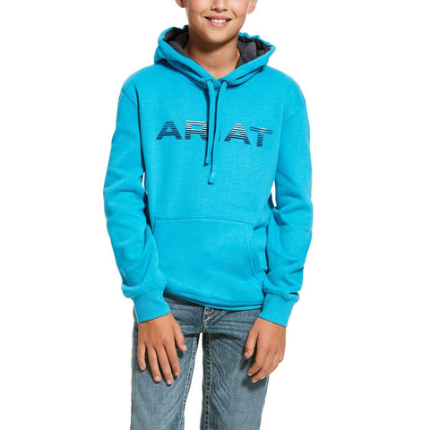 Ariat® Kid's Caribbean Sea Blue Graphic Logo Hoodie 10028286