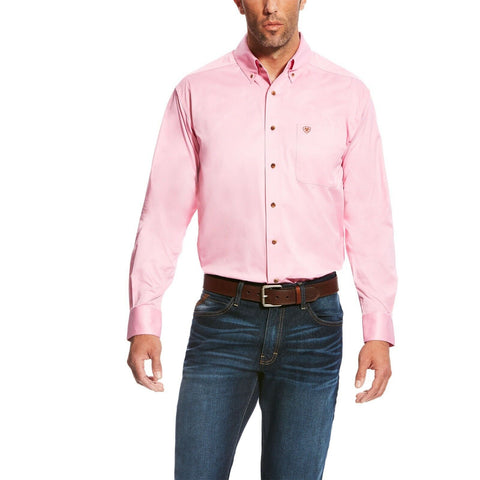 Ariat® Men's Solid Twill Prism Pink Long Sleeve Button Shirt 10016692