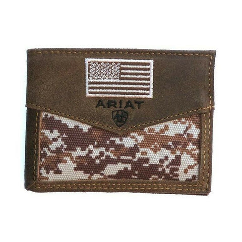 Ariat Digital Camo & Embroidered Flag Bi-fold Rodeo Wallet A3536844