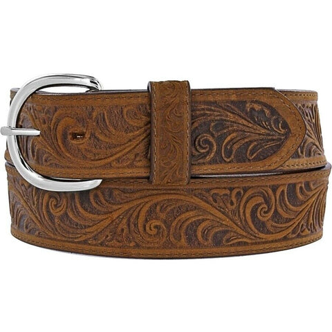 Justin Men's Brown Western Scroll Tooled Belt 53909