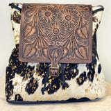 American Darling Gold and Cowhide Backpack Purse ADBGZ101ACGO