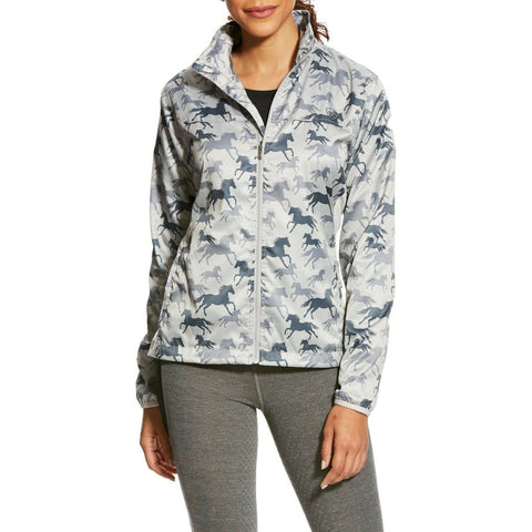Ariat® Ladies Ideal Slate Grey Horse Print Windbreaker Jacket 10025691