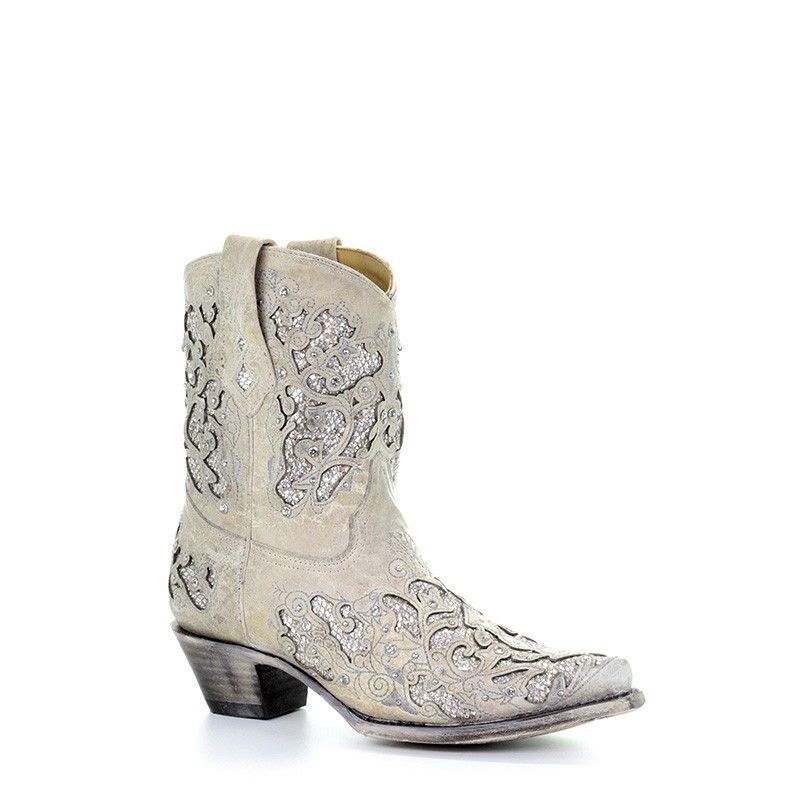 ce1f1a841 Corral Ladies Mariah White Glitter Inlay & Crystals Ankle Boots A3550