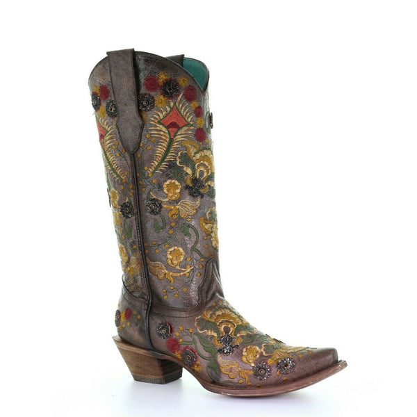 Corral Ladies Brown Flowered Embroidery Overlay & Crystals Boots C3517