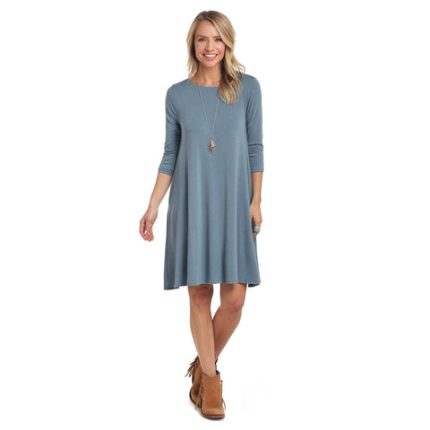 Panhandle Ladies Blue 3/4 Sleeve Dress L9D3735