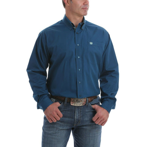 Cinch Men's Solid Blue Long Sleeve Button-Down Shirt MTW1105057