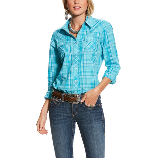 Ariat® Ladies R.E.A.L Essence Aqua Plaid Button Snap Shirt 10025440 - Wild West Boot Store