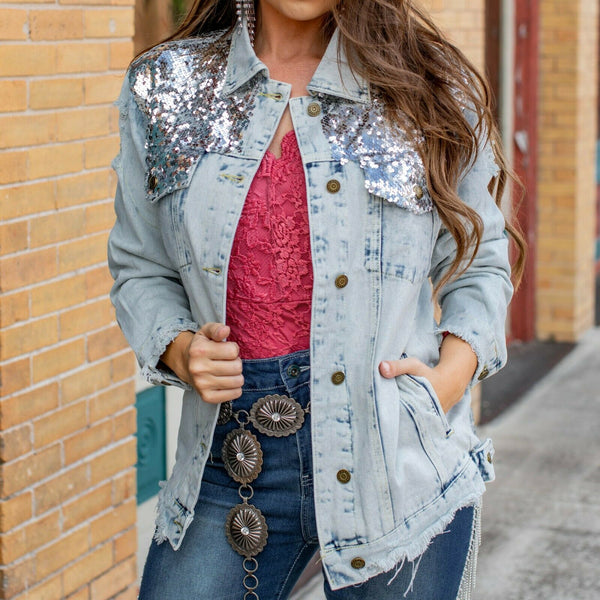L&B Ladies Distressed Denim With Silver Sequin Jacket MH0097-SILVER