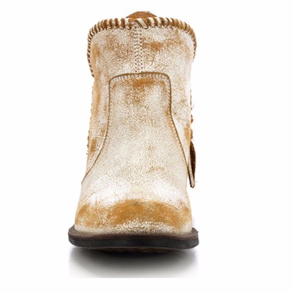 Circle G by Corral Ladies White Fringe Shortie Boot Q0004 - Wild West Boot Store