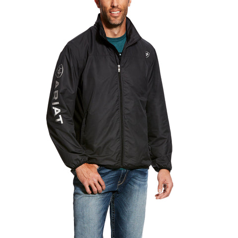 Ariat Men's Ideal Logo Black Windbreaker Jacket 10025619 - Wild West Boot Store