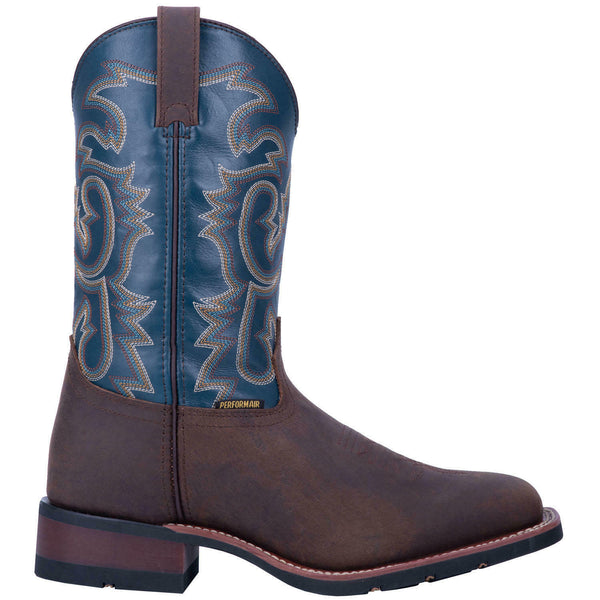 Laredo Men's Hamilton Distressed Brown & Blue Square Toe Boots 7936