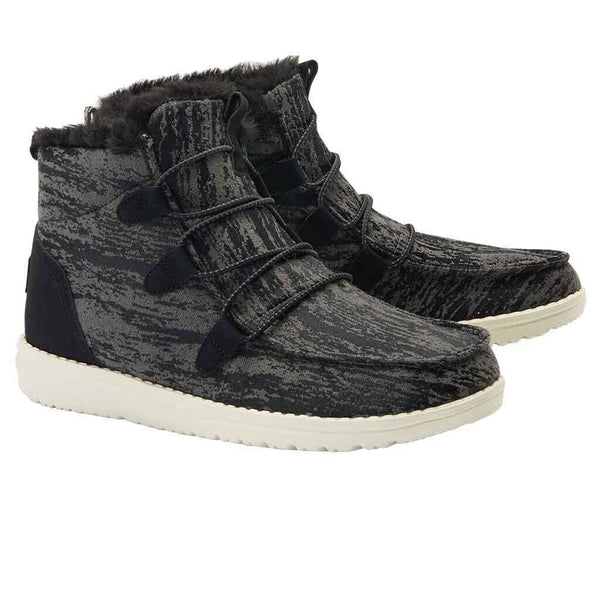 Hey Dude Ladies Lea Fur Black Polybag Shoes 121814818