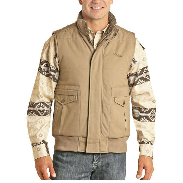 Powder River Outfitters Men's Tan Conceal Carry Quilted Vest 98A6675