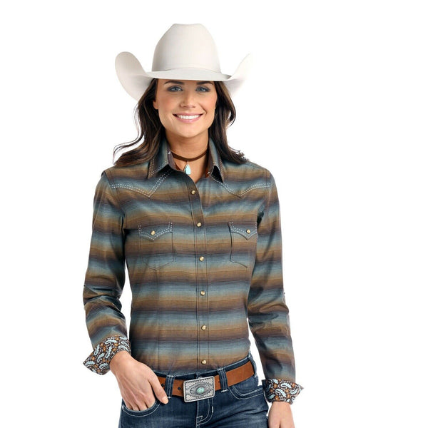 Panhandle Ladies Long-sleeve Wingo Vintage Ombre Striped Shirt R4S8411