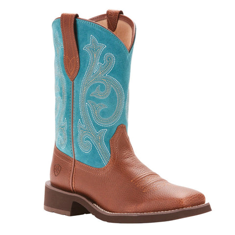 Ariat® Ladies Prim Rose Pebbled Brown & Turquoise Boots 10025031 - Wild West Boot Store