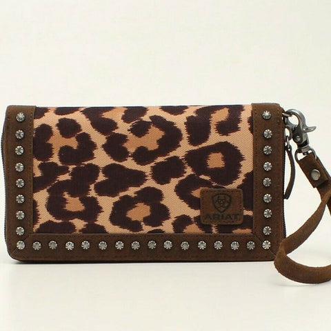 Ariat Ladies Leopard Print and Studded Brown Leather Clutch A770000102