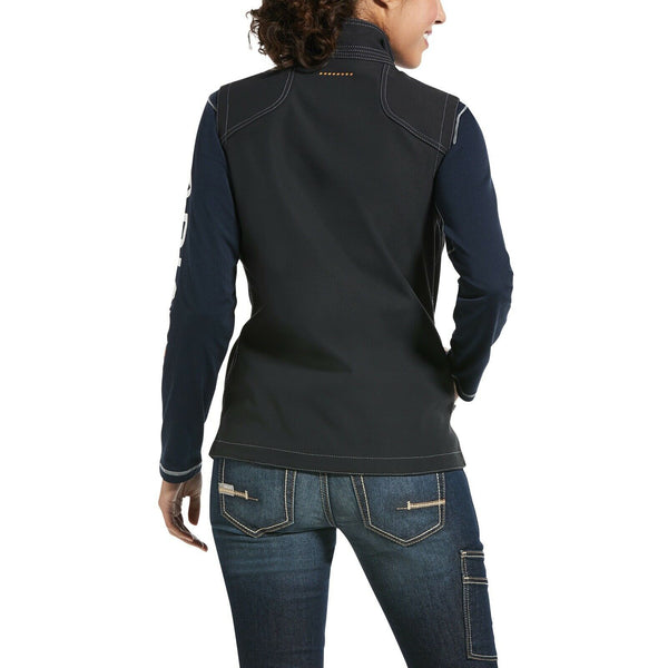 Ariat® Ladies Rebar™ Stretch Canvas Black Softshell Vest 10032916