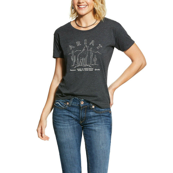 Ariat® Ladies Charcoal Grey Coyote Howl T-Shirt 10031688
