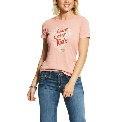 Ariat Ladies Orange Live Love Ride Short Sleeve T- Shirt 10031737
