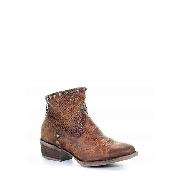 Circle G by Corral Ladies Honey Cut Out & Studs Ankle Boots Q5075