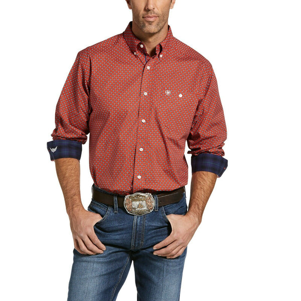 Ariat® Men's Relentless Fierce Stretch Red Long Sleeve Shirt 10033018